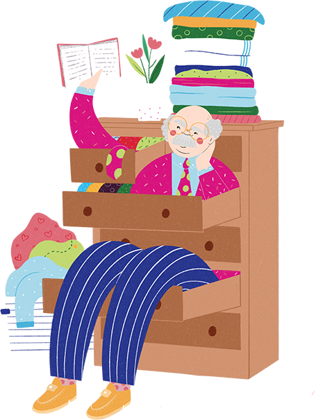 Illustration of a man sitting on a chest of drawers reading a book