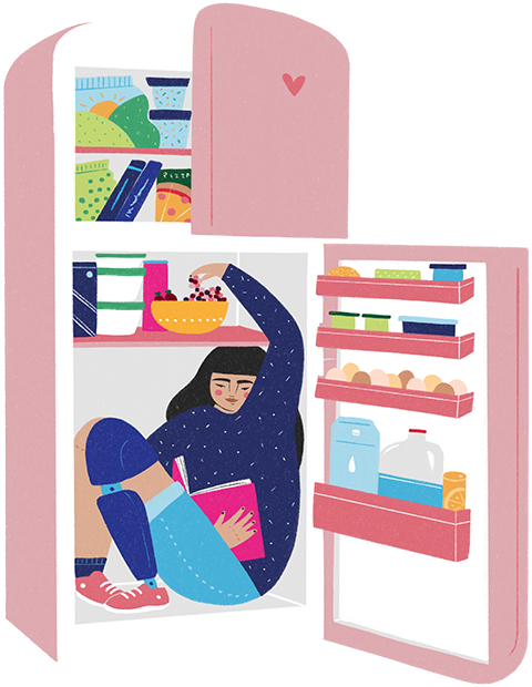 A woman with a prosthetic leg sits in an open fridge holding a book in one hand and reaching for sweets with the other
