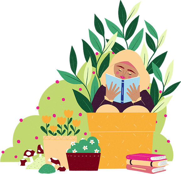 A woman sits squeezed into a pot reading a book, a pile of three books in front of her and other plants around her