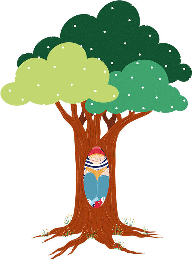 A boy sits squeezed into the knot hole in a tree reading a book wearing a red hat, striped jumper and jeans